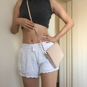 Nude beige cross over bag